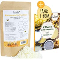 100g weiße zertifizierte schnell schmelzende Bienenwachs Pastillen vom Imker mit Rezepte PDF für die Herstellung Salben…