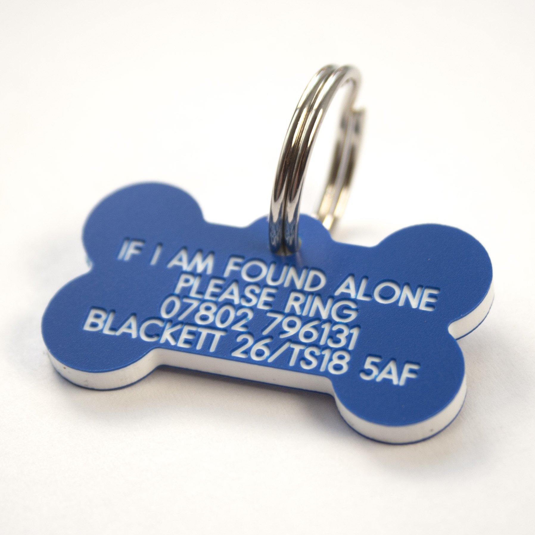 Engraving Studios Deeply engraved blue plastic bone shaped dog tag 39x22mm