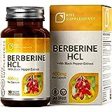 RS Berberina HCL Capsulas 400mg con Extracto de Pimienta Negra - 90 Cápsulas Veganas - Controle de Glucosa en la Sangre y del