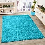 VIMODA Prime Shaggy Teppich Farbe Türkis Hochflor Langflor Teppiche Modern, Maße:Ø 160 cm Rund