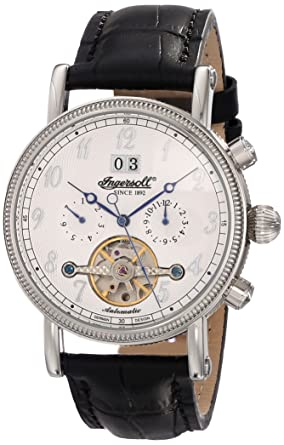 ingersoll men s automatic watch white dial analogue display ingersoll men s automatic watch white dial analogue display and black leather strap in1800wh
