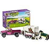 Schleich 42346 Horse Club zestaw do zabawy – pick-up z przyczepą dla koni, zabawka od 5 lat