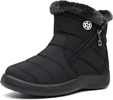 Gaatpot Women Winter Warm Snow Boots Ladies Slip On Water-resistant Outdoor Fur Lined Ankle Booties Shoes Size 3-9