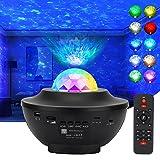 LEDSternenhimmelProjektor,Lachesis Sternprojektor Nachtlicht Lampe Ozeanwellen ProjektormitFernbedienung/Bluetooth/3Hel