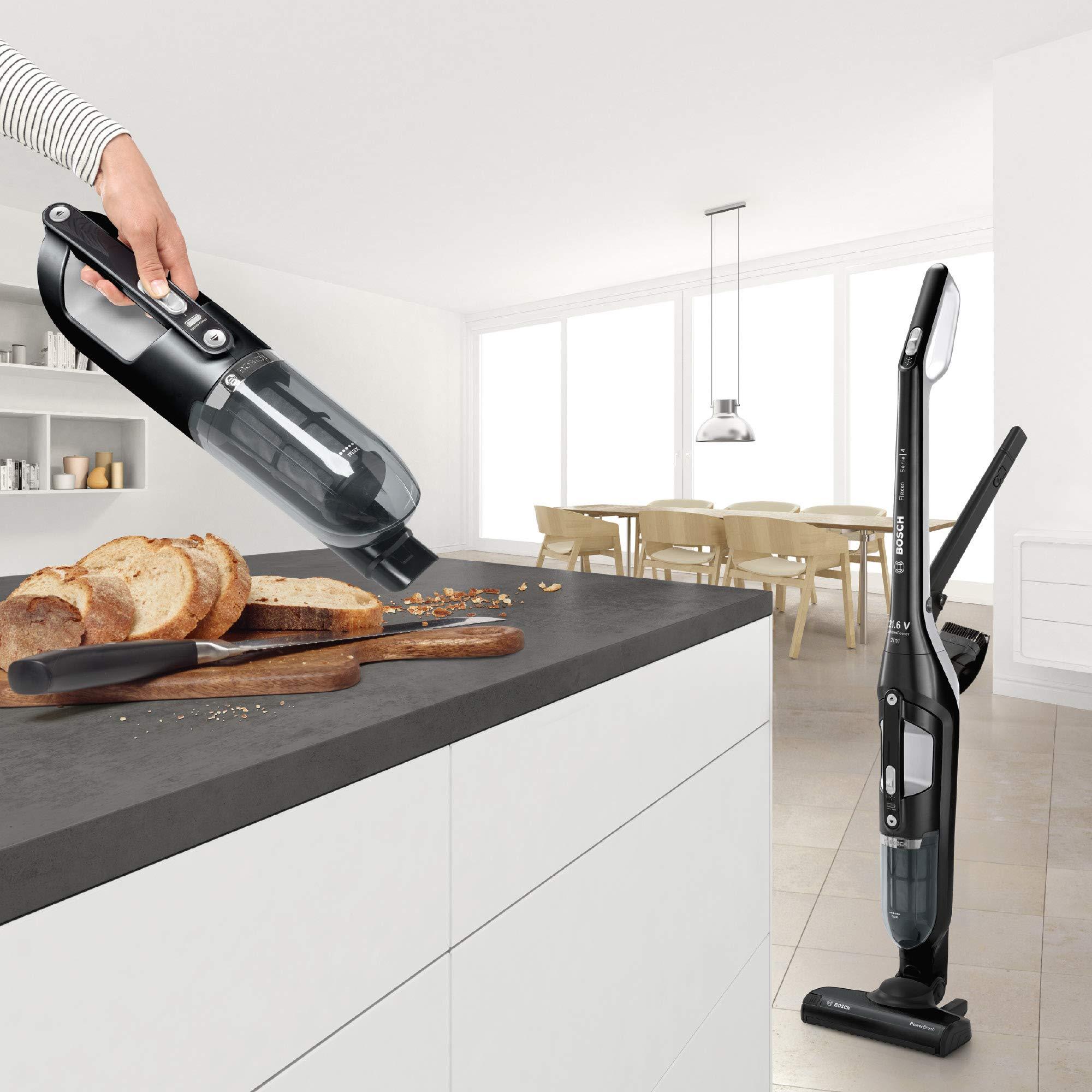 Bosch Akku-Staubsauger Flexxo 2 in 1 Serie 4 BBH32101, kabelloser Handstaubsauger, beutellos, hohe Saugleistung, lange…