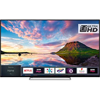 Toshiba 49U5863DB 49-Inch Smart 4K Ultra-HD HDR LED WiFi TV with Freeview Play - Black/Silver (2018 Model)