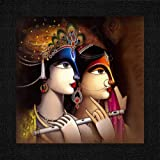 SAF Radha Krishna UV Coated Home Decorative Gift Item Framed Painting 12 inch X 12 inch SPNF915G618D