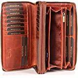 MATADOR Damen/Frauen Geldbörse mit TÜV Geprüfter RFID/NFC Schutz Hochwertige Portemonnaie Rinds Leder Geldtasche Doppelter Me