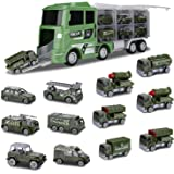 Hautton Diecast Military Vehicles Toy Set, 12 in 1 Mini Alloy Metal Army Battle-Car in Carrier Truck Transport Car for Boys K