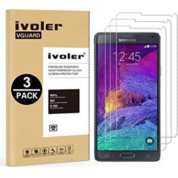 [3 Unidades] Samsung Galaxy Note 4 Protector de Pantalla, iVoler Protector de Pantalla de Vidrio Templado Cristal Protector para Samsung Galaxy Note 4 ...