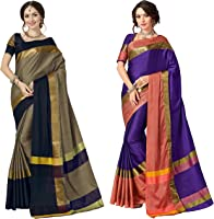 Art Décor Sarees Women's Pack of 2 Sarees Cotton Silk Saree With Blouse (Pack of Two Sari)