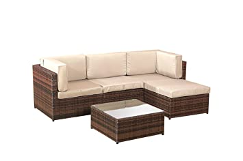 Alexander Morgan AM705 Garden Rattan Furniture Lounge Set Corner Sofa Table    Brown Weave