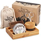 BFWood Beard care Kit with bamboo Holder for men - Beard Brush, Beard Comb, Scissor, Beard Balm 30g for Trimming,Grooming,Sof
