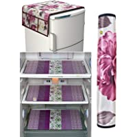 Yellow Weaves™ Combo of Exclusive Design Fridge Top Cover,1 Fridge Handle Covers + 3 Fridge Mats (Multi Color, 5 Piece…
