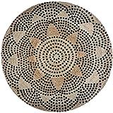 Atmosphera - Tapis rond, en jute, ethnique, avec deux motifs assortis, Ø 1200 mm