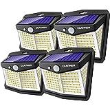 Claoner Upgraded Solar Outdoor Lights, 128 LED Solar Security Lights IP65 Waterproof Solar Motion Sensor Lights with 3 Intell