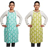 Amazon Brand - Solimo 100% Cotton Kitchen Apron Set, Paisley (Pack of 2, Blue and Green)