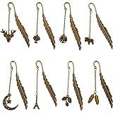 Segnalibri in Metallo Piuma con Ciondolo di Foglia di Luna, Pennarello Antico in Bronzo per Adulti e Bambini, Vintage Elegant