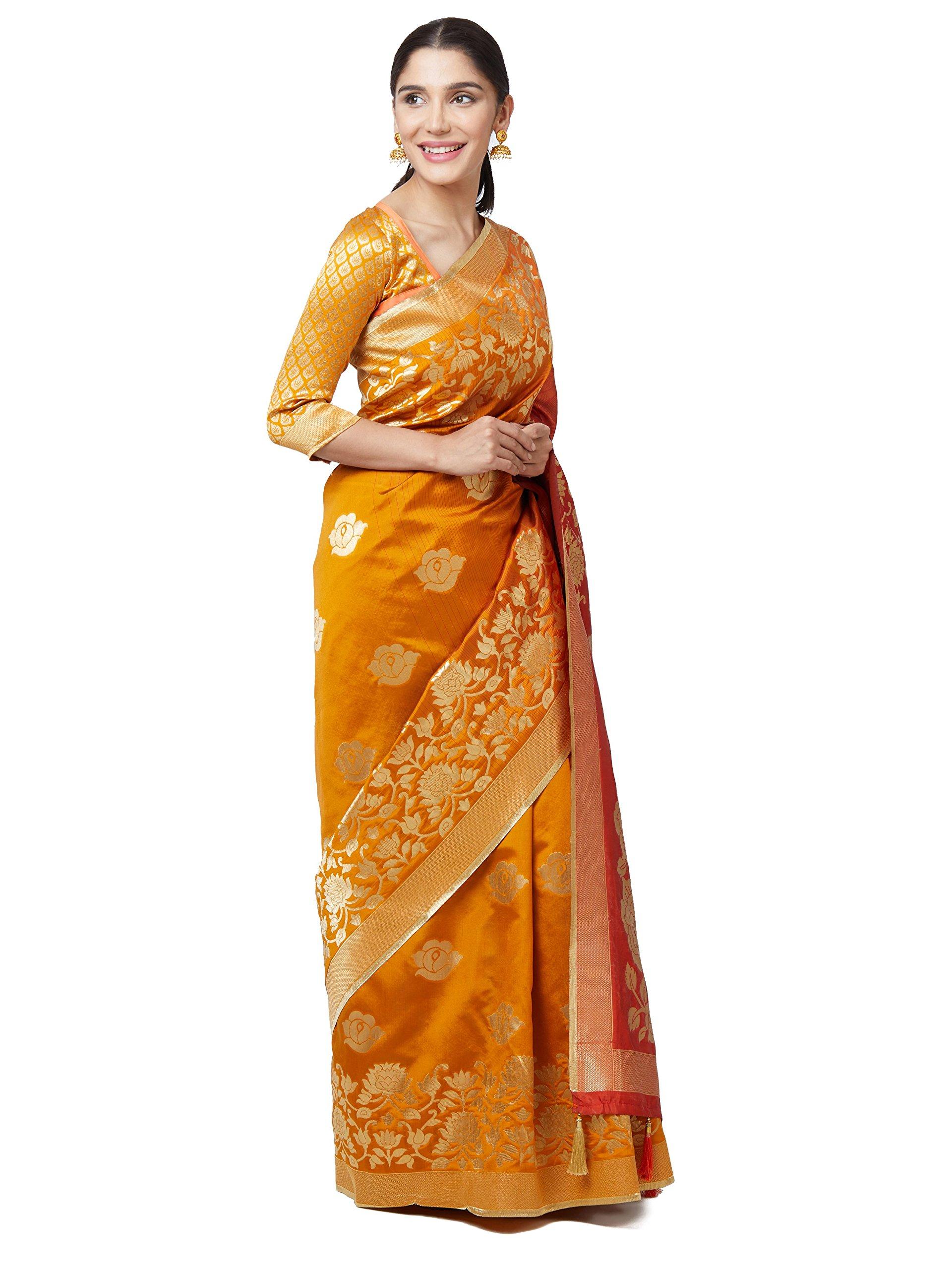 6e00dd97c6ed0 SareeShop Sarees Women s Yellow Color Cotton Silk Jacquard Saree ...