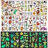 Tatuajes Temporales para Niños Niñas, 250 Tatuajes Animal, 20 hojas Tatuajes de dibujos animados y 5 hojas Tatuajes que brill
