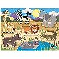 Melissa & Doug |Puzzle en Bois à Bouton - Animaux du Safari |2+ | Jouet en bois