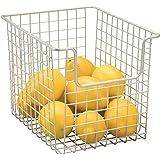 mDesign panier de rangement en fil de fer – boîte en métal flexible pour la cuisine, le garde-manger, etc. – panier en métal
