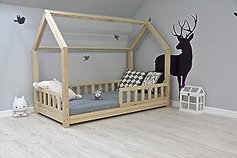 Best For Kids Kinderbett Kinderhaus mit Rausfallschutz Jugendbett Natur Haus Holz Bett mit oder ohne 10 cm Matratze in 3 Größen