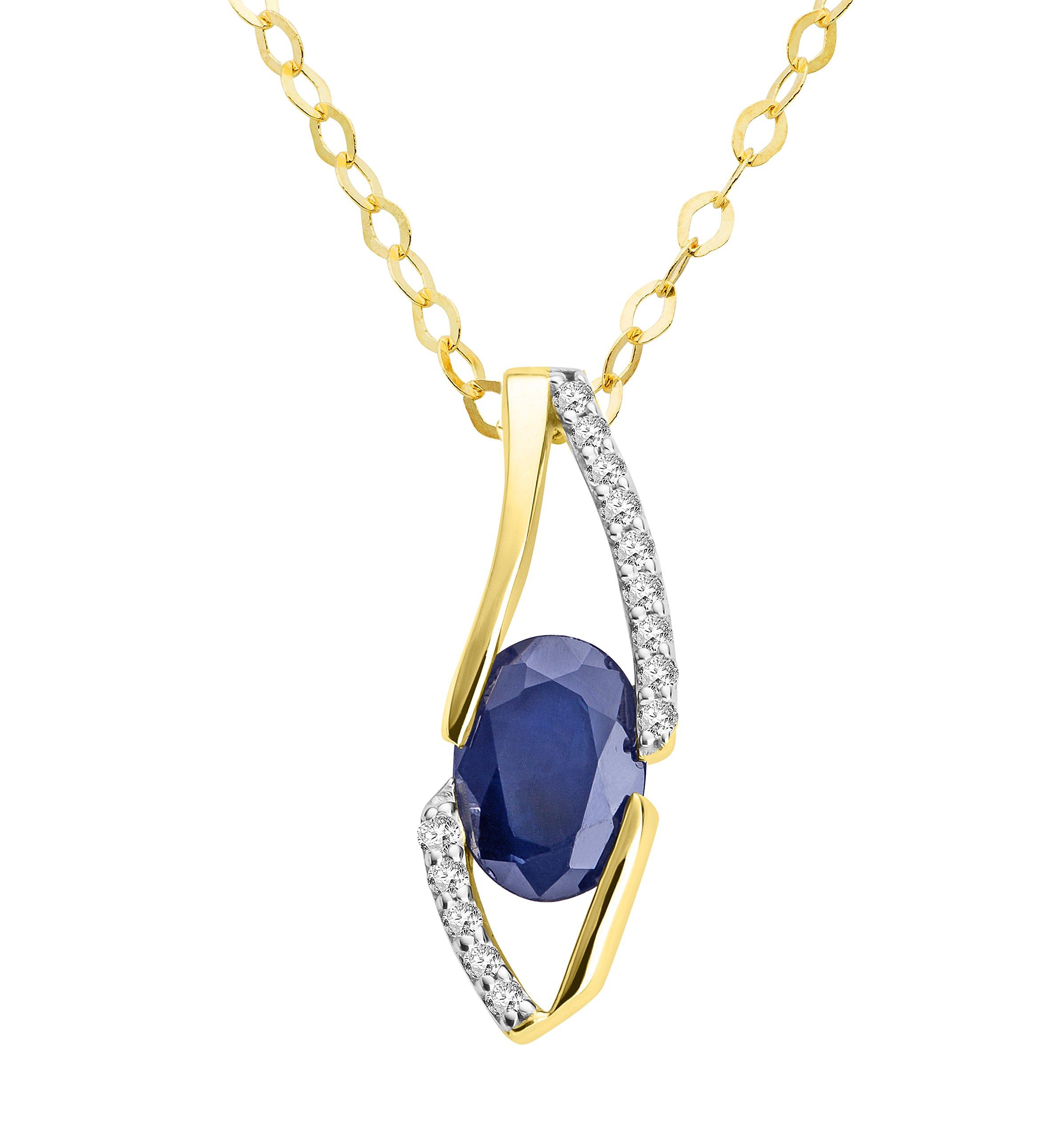 Ciondolo Miore per donna 18carati (750) oro giallo zaffiro con brillanti 45cm blu taglio ovale e d