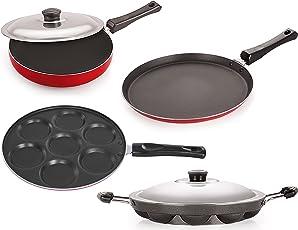 Nirlon Non-Stick Aluminium Cookware Set, 4-Pieces, Red (26_FT12_FP12_AP_up)