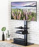 FITUEYES Meuble TV avec Support Pivotant Cantilever pour Téléviseur de 32 Pouce à 65 Pouce Ecran LED LCD Plasma avec 3 Etagères pour Ranger AV équipement TT307001MB