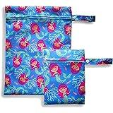 2er Set Wetbags mit süßem Kindermotiv - wasserfeste, waschbare Nasstasche mit Reißverschluss (Blau - Mermaid)
