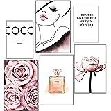 artpin® Lot de 6 affiches design pour décoration murale de salon et chambre à coucher Motif rose de coco Format A3 et 2 forma