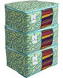 Kuber Industries Metallic Print 3 Piece Non Woven Saree Cover Set, Green
