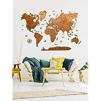 Wood World Map Wall decor 3D Christmas gift Handmade Home Decor Wall Art Wooden World Map Push Pin Christmas Decor