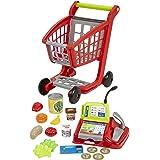 Jouets Ecoiffier – 1219 - Chariot de supermarché pour enfants + caisse enregistreuse + accessoires 100 % Chef – Dès 18 mois –