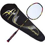 Langning Unique Raquette de badminton de haute qualité, en fibre de carbone Raquette de badminton, pour les professionnels et les lecteurs débutants, Sac de transport inclus