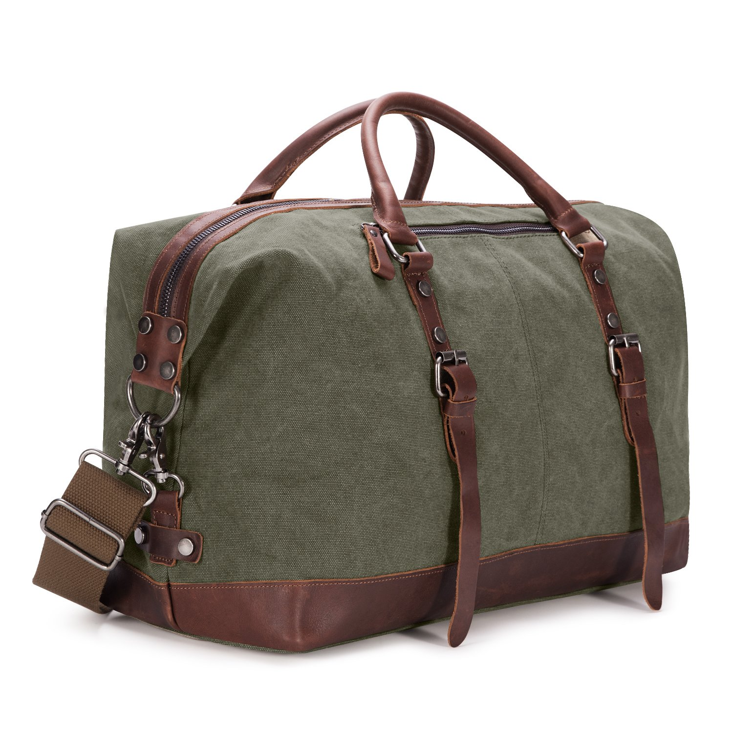 Kattee Mens Canvas Leather Holdall Travel Duffle Overnight ...