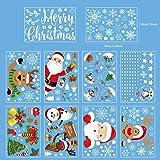 Weihnachten Fensteraufkleber, 10 Stück Fensterbilder selbstklebend für Weihnachten, Schneeflocken Fensterdeko wiederverwendba