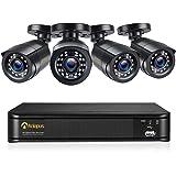 Anlapus 1080P Kit de Cámaras Seguridad 8CH H.265+ Videograbador DVR con 4 Cámara de Vigilancia Exterior, sin Disco Duro, Visi