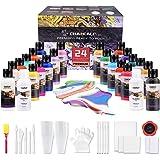 CRAZCALF Acryl Gieten Verf Set, Set van 24 Flessen (2 oz/60 ml), Pre-Mixed High Flow Acryl Paint Kit met Siliconen Olie, Fleu