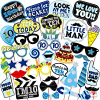 WOBBOX Tenth Birthday Photo Booth Party Props Blue for Baby Boy , 10th Birthday Decorations for Boys , Kids Birthday…