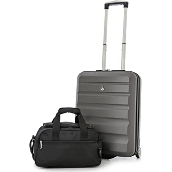 a17f6fff3f039 Aerolite Ryanair 55x40x20cm Hard Shell Hand Luggage Cabin Suitcase +  35x20x20cm Maximum Size Second Bag (