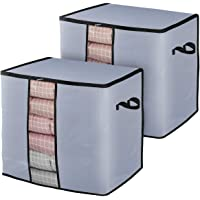 Home Store India Large Bedding Clothing Storage Bags[2Pack] Extra Thick Fabric Foldable Closet Zippered Storage Organizer Container for Clothes Blanket Pillow Comforter with Clear Window Gray Color