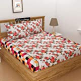Dazling Bazaar 100% Cotton 180 TC King Size Elastic Fitted Bed Sheets with 2 Pillow Covers (Flower-Orange)