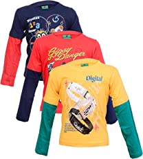Krystle Full Sleeves Printed And Colour Tshirt Combo - Pack Of 3