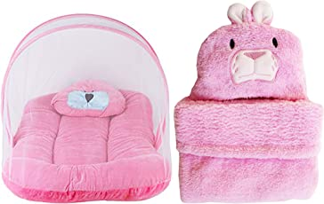 My Newborn Baby Velvet Mosquito Net Bed and Ac Blanket Wrapper, Pink (Pack of 2)