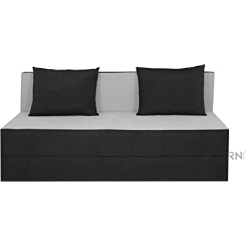 adorn india easy three seater sofa cum bed black and grey
