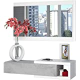 Salone Negozio Online Kit Mobile Ingresso 1CASSETTO 1 Specchio Noon Bianco E Legno Scuro