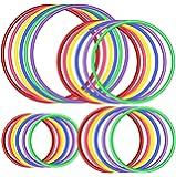 OOTSR 24pcs Jeu d'anneau en Plastique pour Jeu de Lancer d'Anneaux, Vitesse et agilité Jeux de Pratique, Jeux de fêtes…