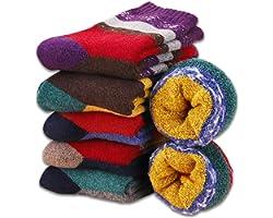 MOSOTECH Calcetines Termicos de Mujer, 6 Pares Calcetines de Lana Invierno Cálidos de Confort Casual,Talla única 35-41
